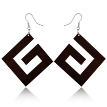 Woman Indian Big Drop Earring Wooden Earrings For Women Jewelry Geometric G Natural Wood Long Dangle Earings