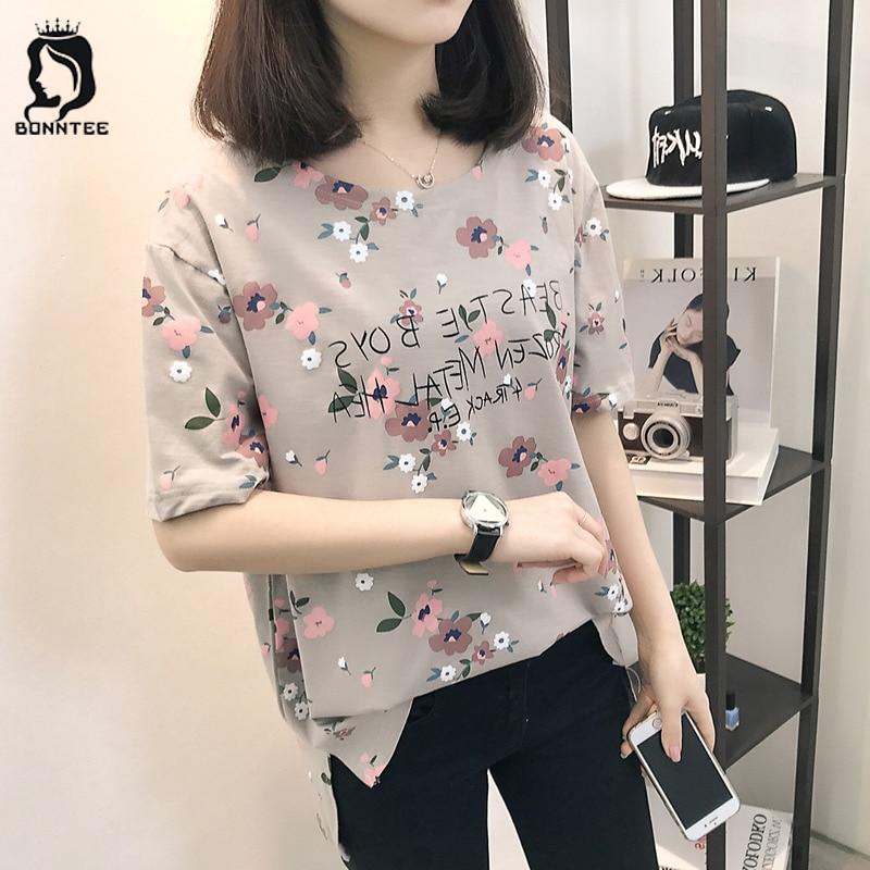 Casual Loose Women Summer T-shirt Womens O-neck Printing Cute T-shirts Female Sweet Girls Tops Females Korean Style New Trendy 1