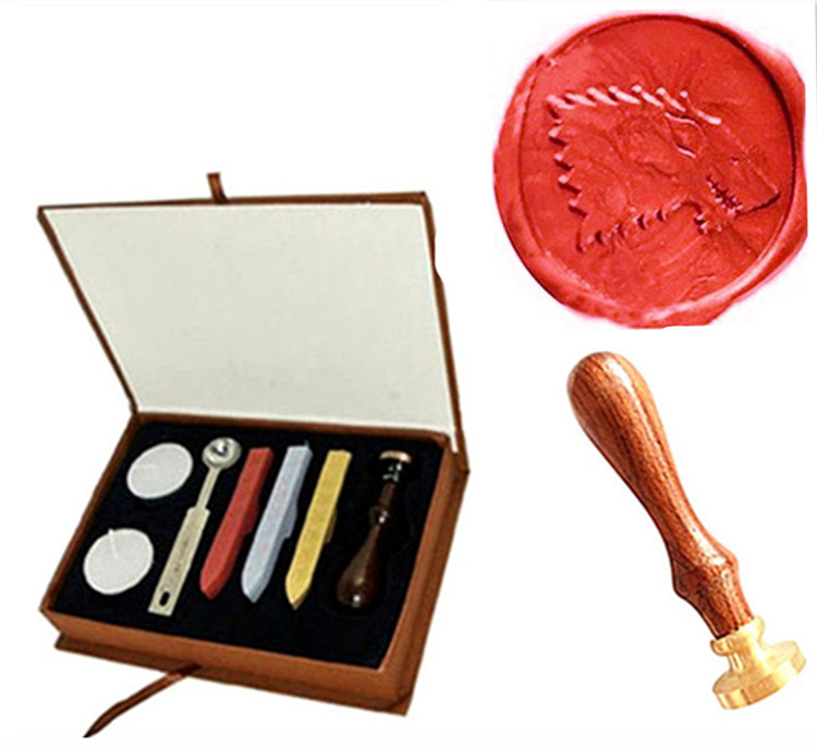 Vintage Cool Wolf Custom Picture Wedding Invitation Wax Seal Sealing Stamp Rosewood Handle Sticks Melting Spoon gift Box Set Kit big copper spoon big large size stamp spoon vintage wooden handle brass spoon for sealing wax stamp wax stick spoon