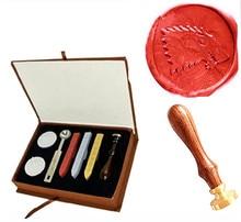 Vintage Cool Wolf Custom Picture Wedding Invitation Wax Seal Sealing Stamp Rosewood Handle Sticks Melting Spoon gift Box Set Kit