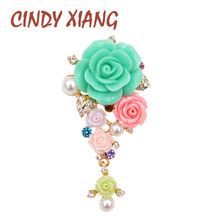 CINDY XIANG Summer Garden Flower Brooches for Women Resin Elegant Wedding Brooch Pin Dress Coat Bag Jewelry 3 Color Available