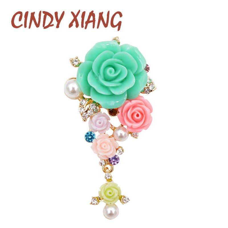 Cindy Xiang Musim Panas Taman Bunga Bros untuk Wanita Resin Elegan Pernikahan Bros Pin Gaun Mantel Tas Perhiasan 3 Warna Tersedia