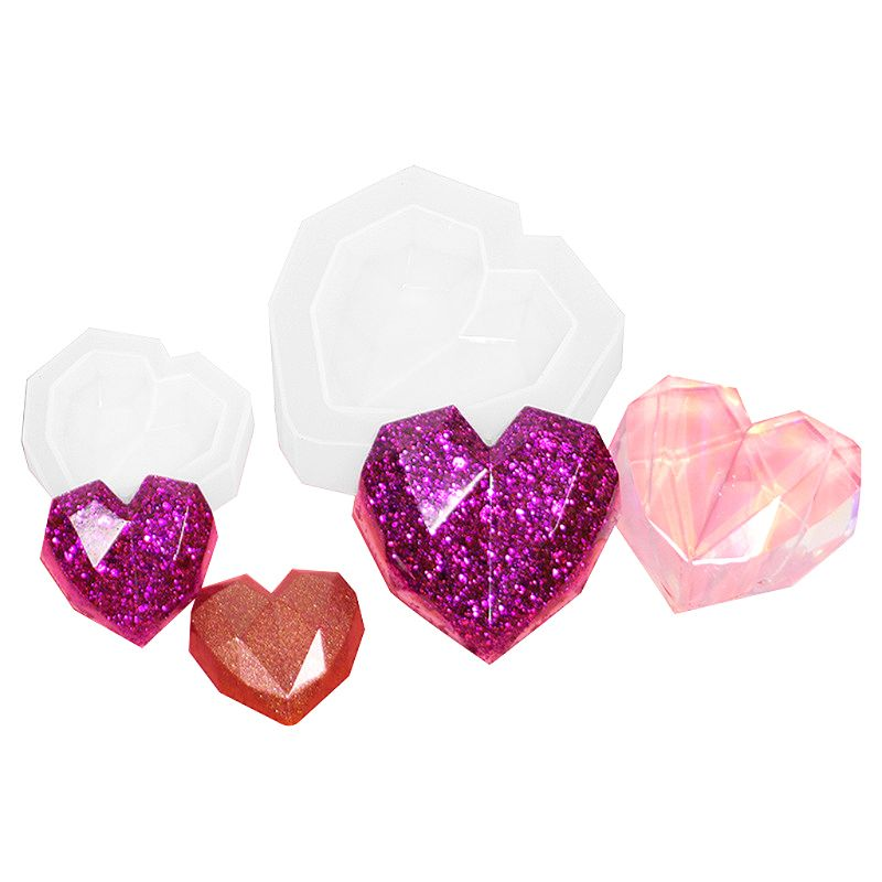 Mini 3D Geometric Heart Shape Silicone Epoxy Resin UV Glue Crafts Mold Creative DIY Art Pendant Brooch Jewelry Tool Accessory