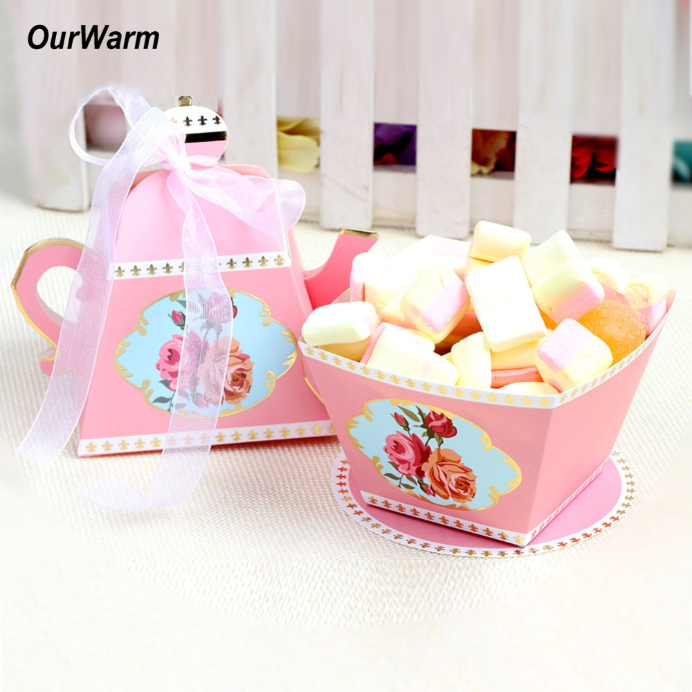 OurWarm 20Pcs Wedding Favour Sweet Cake Gift Boxes Teapot Candy Box for Retro Wedding Decoration Birthday Tea Party Supplies