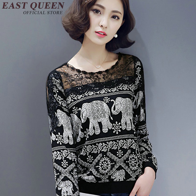 women blouse boho lace patchwork boho shirt long sleeves mexican embroidered blouse Boho chic style o-neck tops AA2087 Q