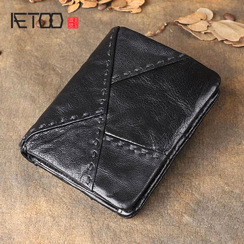 AETOO Original retro leather short wallet First layer sheepskin multi function stitching vertical wallet Youth coin holder-in Wallets from Luggage & Bags    2