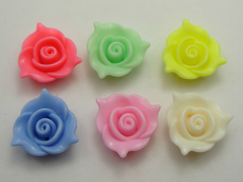 ①50 mixed pastel color acrílico flor Cuentas Amuletos 20mm ...