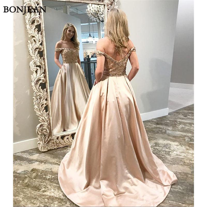 Modest   Evening     Dresses   A-Line Off Shoulder Sleeveless Beading Floor Length Sweep Train New Satin Formal   Evening     Dress