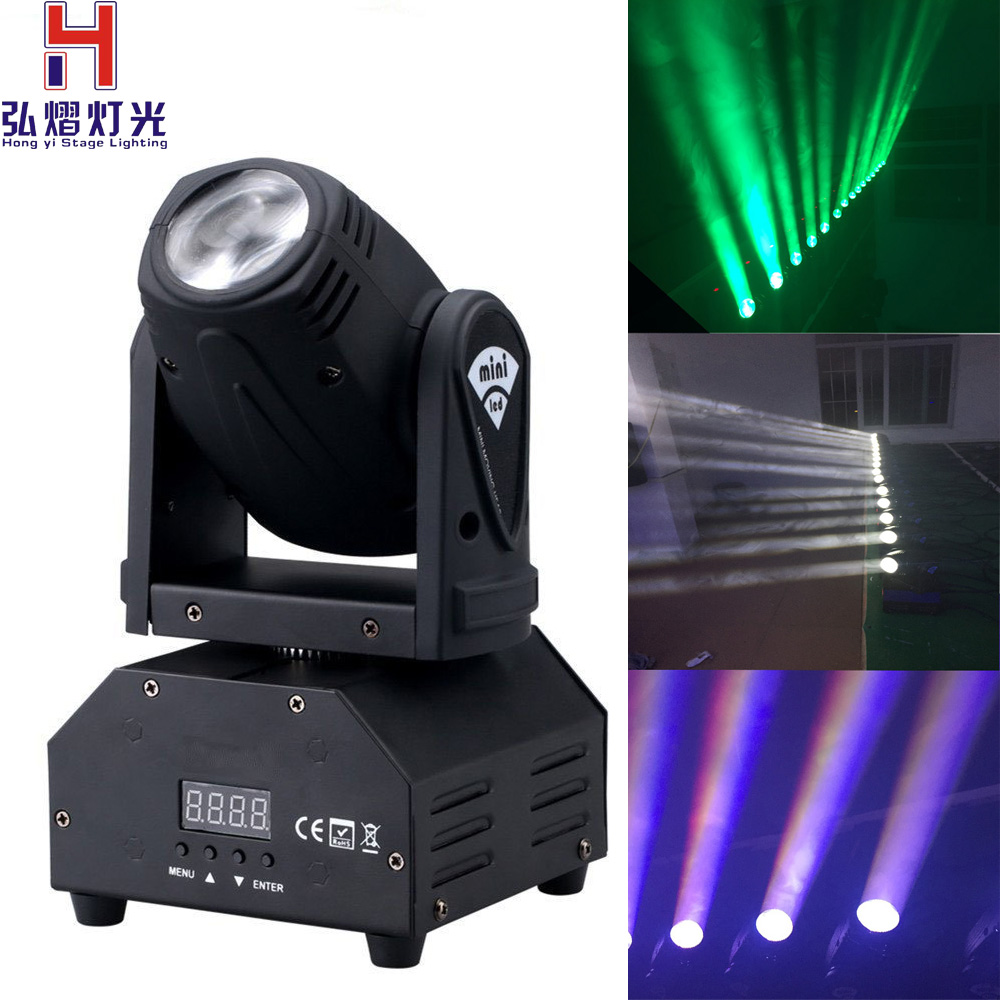 все цены на Hong Yi Stage Lighting led beam moving head light mini beam light dj 10w Cree LED RGBW disco lighting онлайн