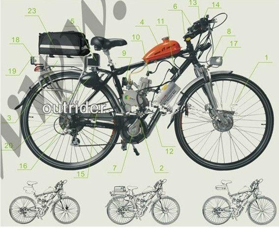 2 ход 48CC велосипед Двигатель газ комплект/Бензиновый двигатель для велосипедов