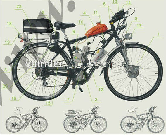 2 Stroke 48cc Gas Bicycle Engine Kit Gasoline For