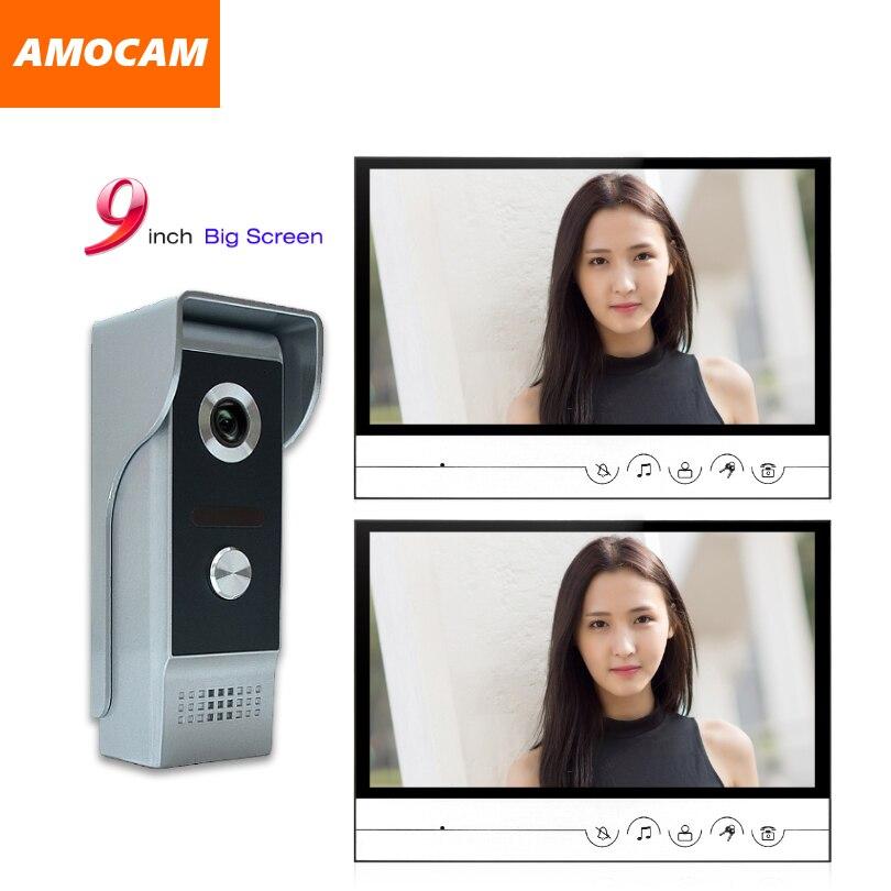 9 big Monitor Video Door Phone Doorbell System Video Intercom IR Night Vision Aluminum Alloy Camera Video Doorphone 2PCS Screen