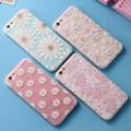 Caja del teléfono del brillo del diamante para iphone 6 6 s linda flor mate volver cubierta para iphone 6 6 s plus tpu suave silicona margarita shell capa
