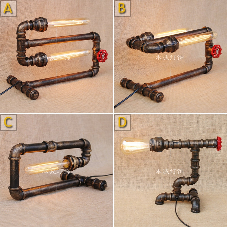 Water pipes Table lights loft simple retro desk industrial wind pipe creative personality living room lamp Table Lamps SG2 water pipes industrial wind iron table lamp bedroom living room desk lamp library reading retro scorpion pipe table lamps sg5