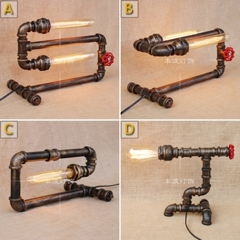 Water pipes Table lights loft simple retro desk industrial wind pipe creative personality living room lamp Table Lamps SG2
