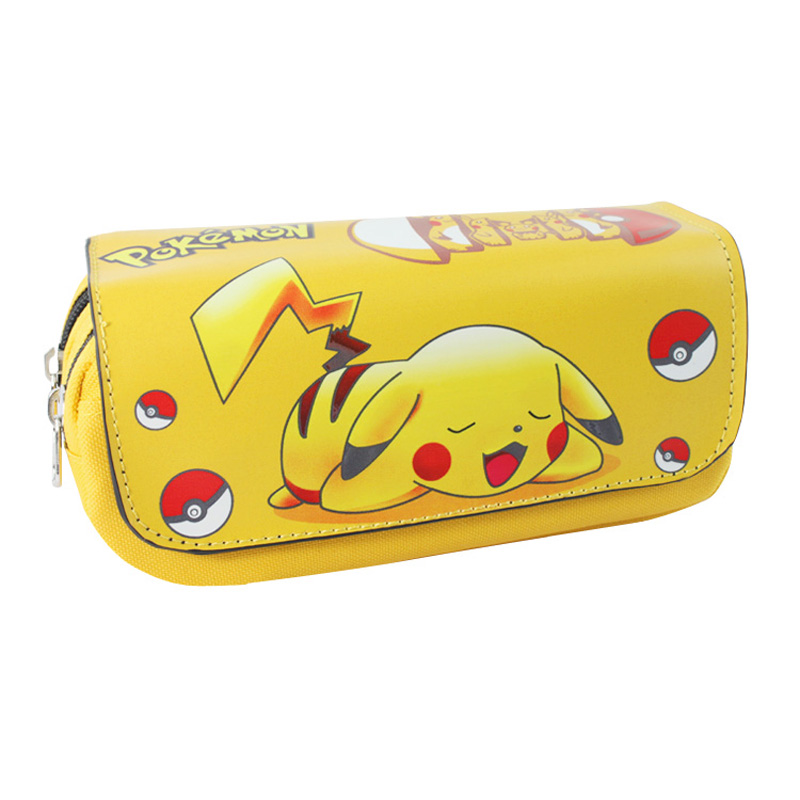 Anime Pocket Monster Pikachu Pencil Case Bag Student Stationery Pouch Cosmetic Travel Makeup Bag