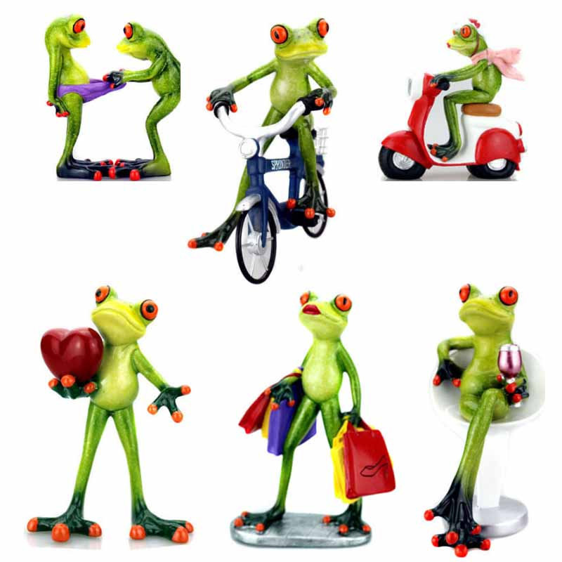 Figurine Animal-Ornaments Frogs Home-Decoration Home-Sculpture Resin Dolls Model Crafts