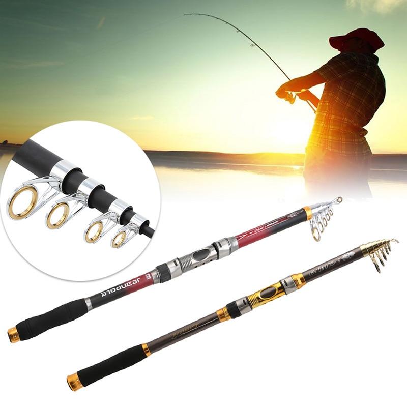 1Pc 2.1 ~ 3.6m Superhard Fiber de carbone télescopique canne à pêche filature pôle voyage matériel de pêche accessoires