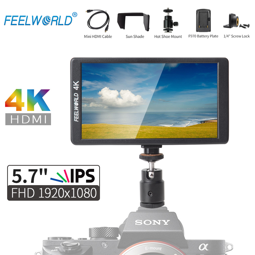 Feelworld F570 5.7 IPS Full HD 1920x1080 4K HDMI On-camera Field Monitor for Canon Nikon Sony DSLR Camera Gimbal Stabilizer Rig цена