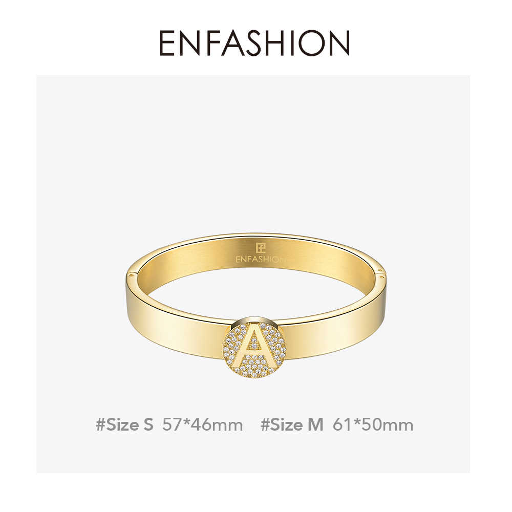Enfashion Brief Initial Bangle Armband Rvs Gold Kleur Manchet Armbanden Armbanden Mode-sieraden Voor Vrouwen 188005
