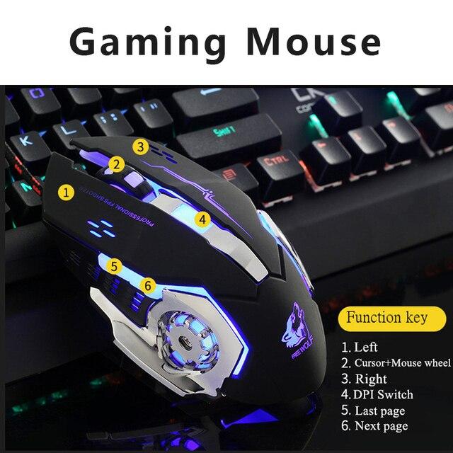 Ratón para juegos por cable profesional, 6 botones, 4000 DPI, ratón óptico USB con LED, juego inalámbrico, silencioso para PC y portátil 5