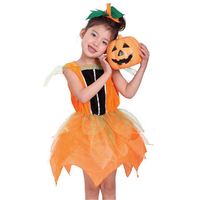2017 New Orange Witch Halloween Costume for Kids Girl Pumpkin ...