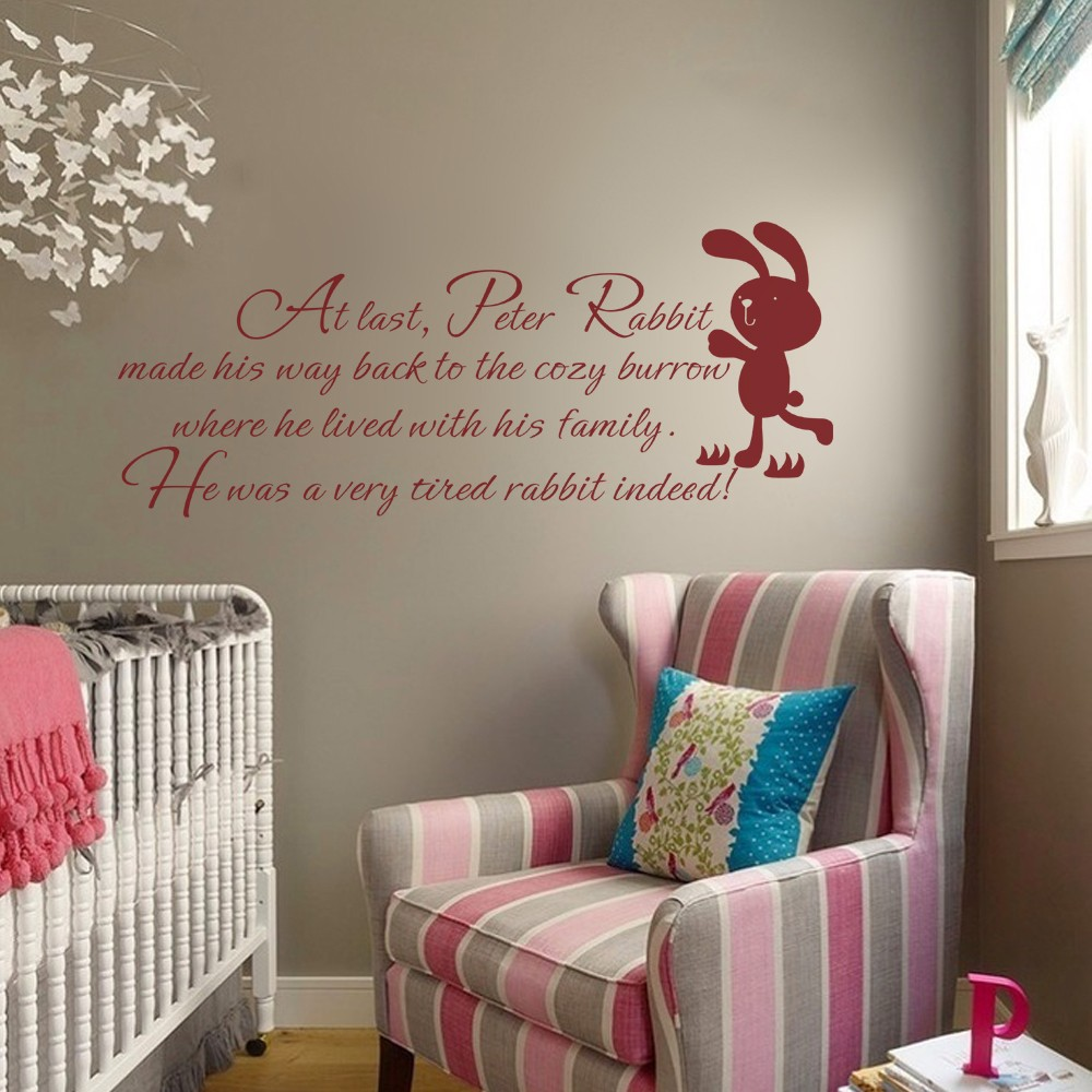 Peter rabbit wall quote baby nursery wall decal kids room wall peter rabbit wall quote baby nursery wall decal kids room wall sticker children bedroom decal 46 x 19 m in wall stickers from home garden on amipublicfo Choice Image