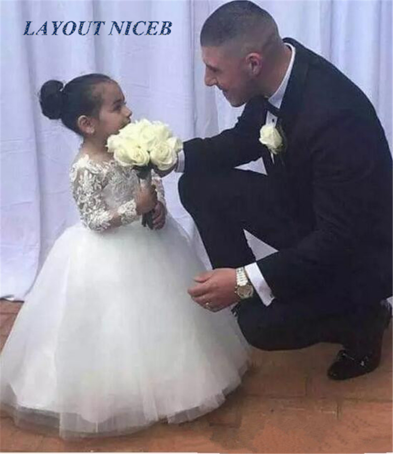 Lovely   Flower     Girl     Dresses   Ball Gown Jewel Long Sleeve Floor Length First Communion   Dresses   With Lace Tulle For Wedding
