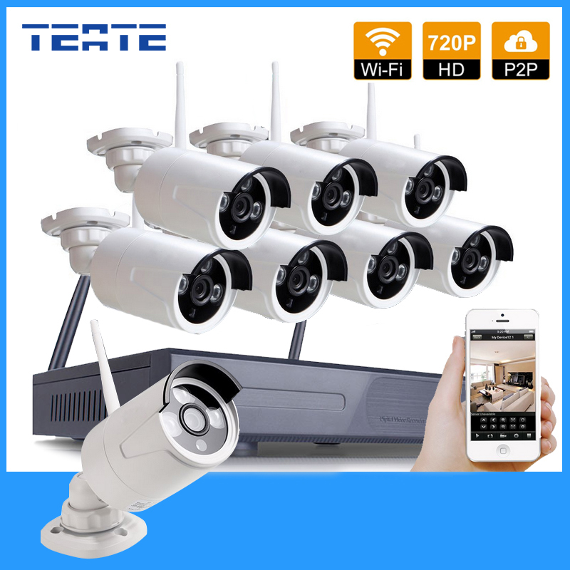 TEATE 8CH CCTV System HD Wireless NVR 8pcs 720P Waterproof IP WIFI Camera Home Security Safety System Kit 8channel