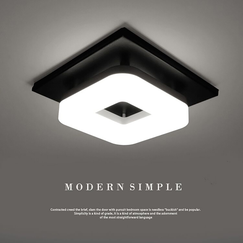 Kitchen Ceiling Lights | Kitchen Spotlights | Modern Minimalism Black Square Iron Dimming Ceiling Lamp Bathroom Balcony Corridor Aisle Kitchen Surfaced Mounted Ceiling Light Wattage 12W