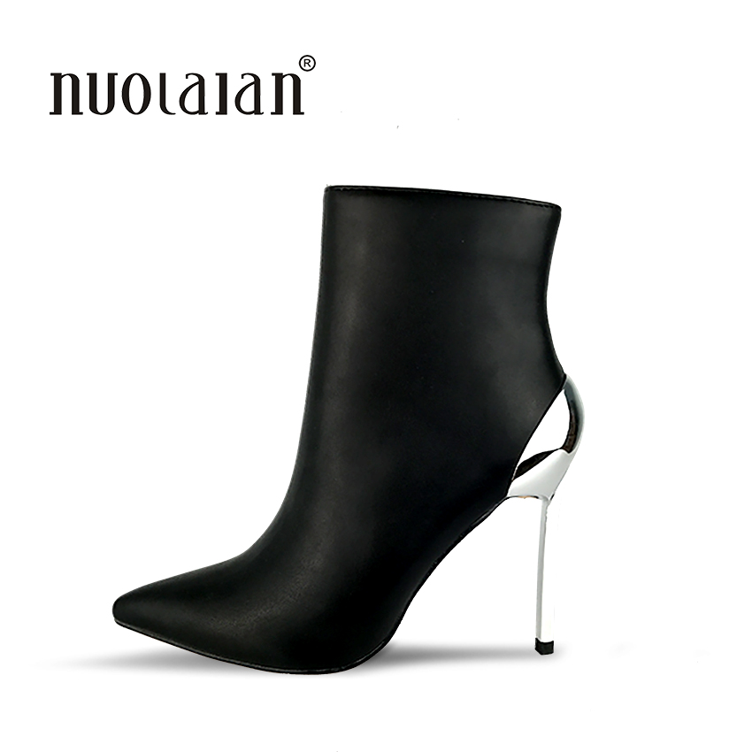 Brand fashion women boots sexy high heels ankle boots for women fur warm boots winter and autumn woman shoes bling pu leather women sexy boots high heels zipper shoes warm fur winter boots for women x1022 35