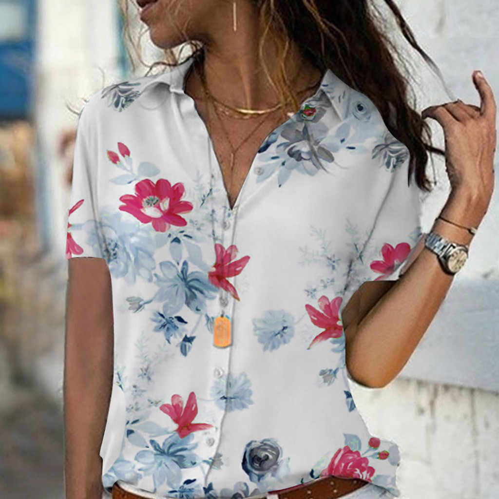 Lady shirt tops summer casual blouse Flower printed shirts Fashion ladies tops blouses Elegant Lady tops Women clothes