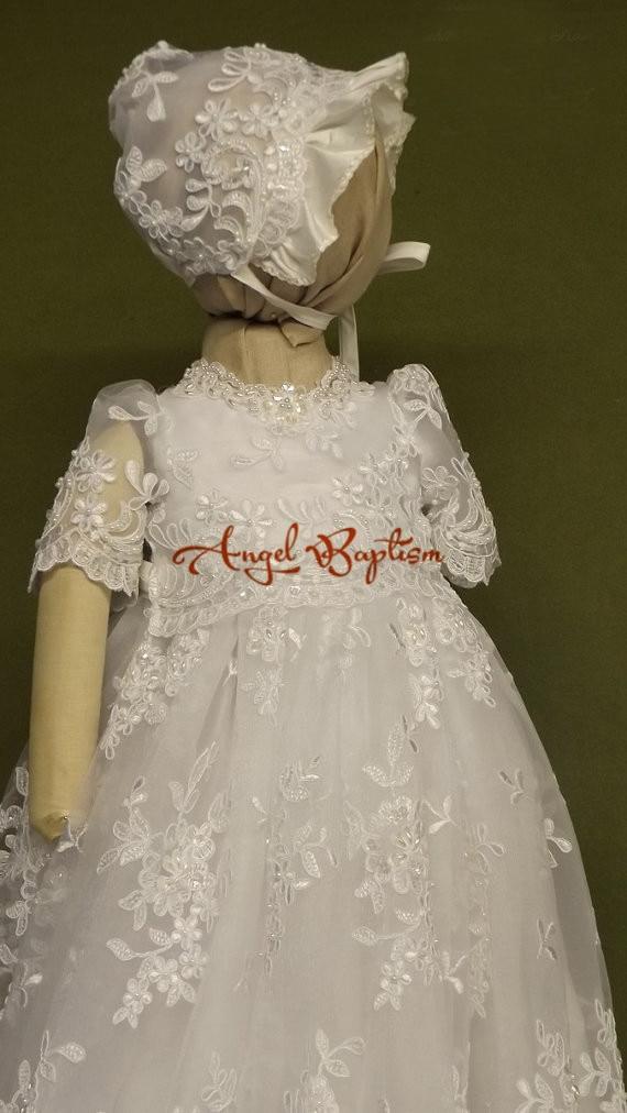 Glamorous white/ ivory lace infant baptism dresses baby boy girls ...