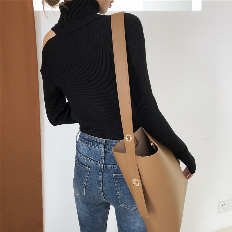 Colorfaith Women Pullovers Sweater 19 Knitting Autumn Winter Turtleneck Sexy Hollow Out Off Shoulder Casual Ladies Tops SW755 16