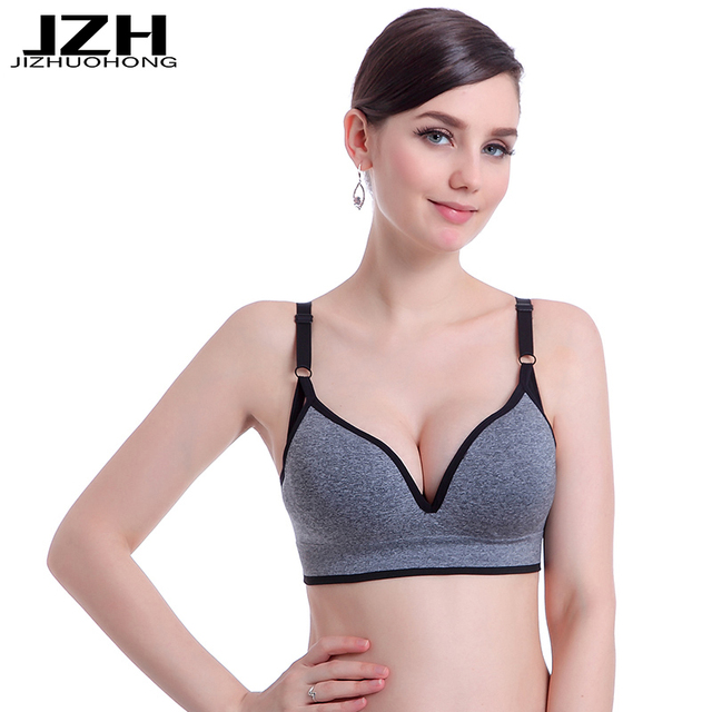 JZH 2017 Brand Women Deep V Sexy Bra Push Up Tops Seamless Bra with Padding Adjusted-Straps Bra Wire Free Fitness Bra for Women