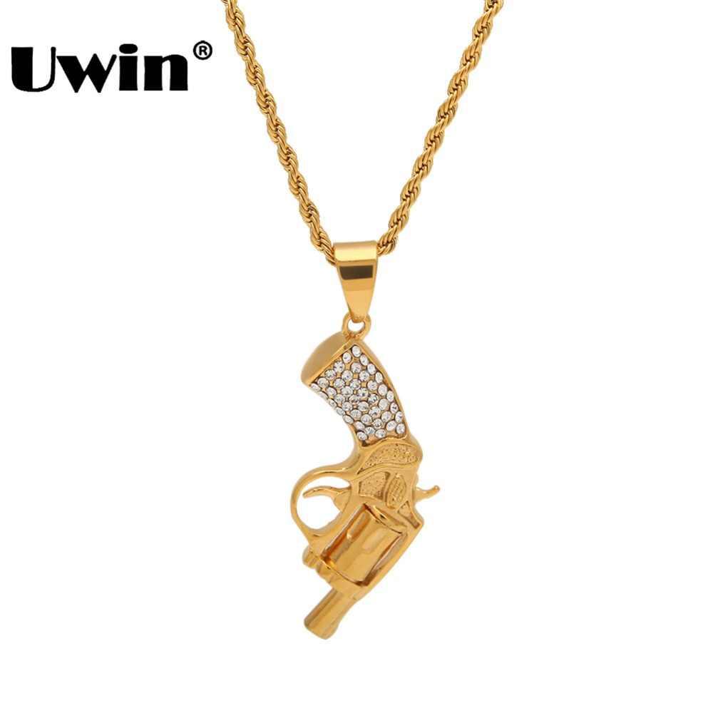 Uwin Fashion Hiphop złoty kolor pistolet wisiorek naszyjnik pełny mrożona z dżetów mężczyzna fajne biżuteria prezenty na Halloween z bezpłatnym łańcuchem
