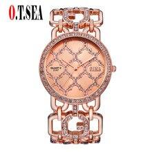 Trend O.T.SEA Model Bracelet Watches Ladies Women Crystal Gown Quartz Wristwatches Relogios Feminino 2157