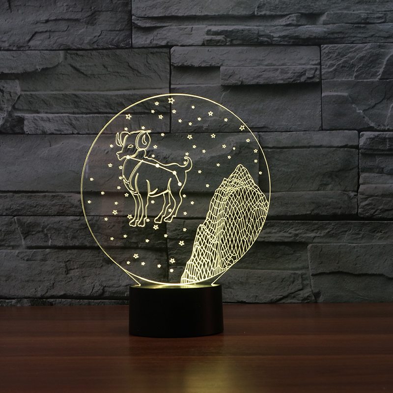 Novelty 3D table lamp Aries picture Acrylic Entertainment 7 color illusion LED Lamp USB desk baby night light