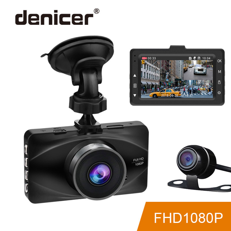 Denicer MD20L Dual Lens Car Dvr Camera Full HD 1080P Video Recorder 3 Inch Screen Car