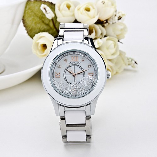 Luxury Brand Longbo Fashion White Ceramic Sports Women Wrist Watch Top Quality Pretty Roll Rhinestone Steel