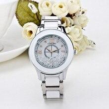 Marca de lujo Longbo Cerámica Blanca De la Moda Deportes Reloj de Las Mujeres de Calidad Superior Pretty Rhinestone Rollo de Acero Ladies Relojes de Vestir
