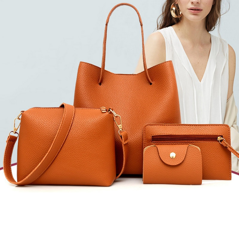 MoneRffi 4 Pcs/Set Handbag Shoulder Bags Solid Color Bag Litchi Grain Tassel Package Bags Waterproof Crossbody Shoulder Bag