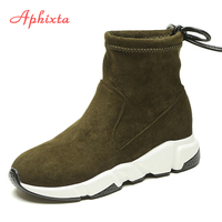 Aphixta Shoes Women Height Increasing Ankle Boots Pointed Toe Shoelaces Slip On Ladies Mujer Winter Snow