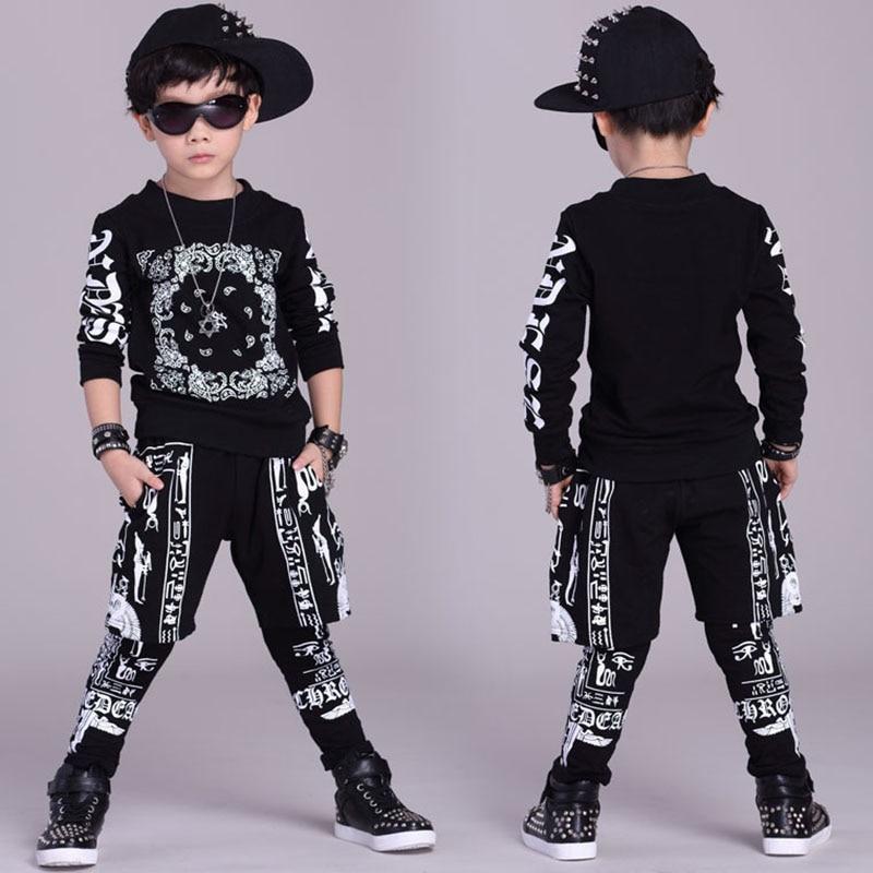 ФОТО Big Boys Sports Suits Cotton Clothing Sets Boys Tracksuits printing Hip Pop Outfits Teenage Kids Sportswear 4 6 8 10 12 14 years