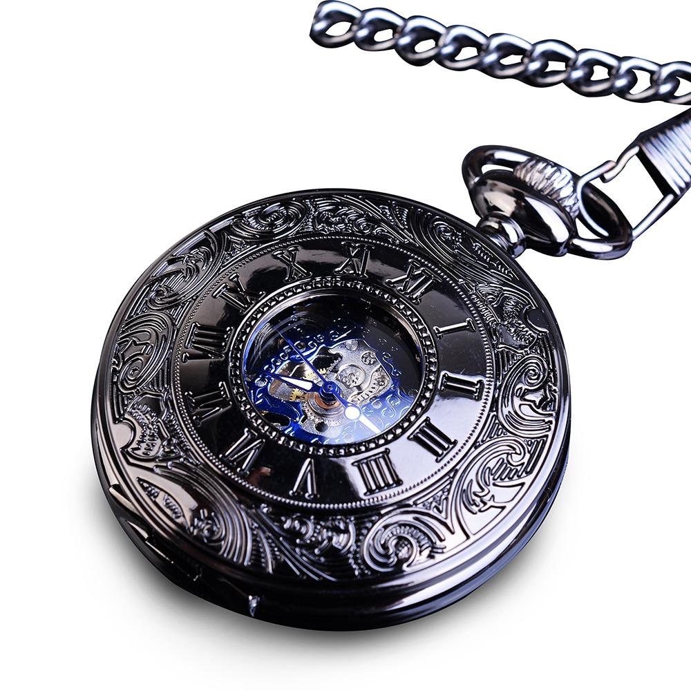 Retro Blue Skeleton Steel Hunter Men Fashion Pocket Watch Steampunk Roman Hand Wind Mechanical Male Flip Fobs Long Chain Watches