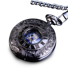 лучшая цена Retro Blue Skeleton Steel Hunter Men Fashion Pocket Watch Steampunk Roman Hand Wind Mechanical Male Flip Fobs Long Chain Watches