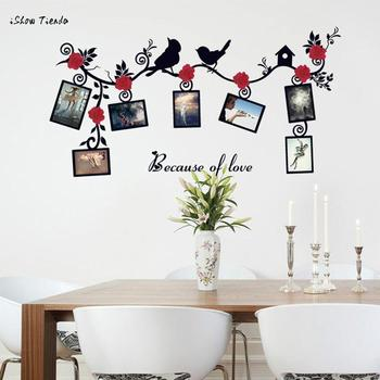 Nowy gorący DIY wymienny ramka na zdjęcia ptak naklejka ścienna z pcv rodzina naklejka ścienna Art Enmarcar Engomadas De La Pared Home Decor nowy