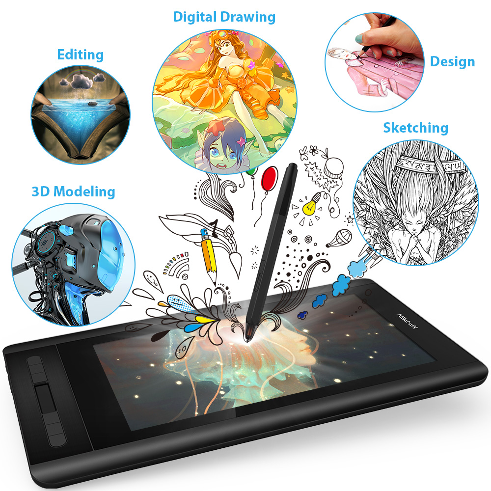 XP-Pen Artist 12 Graphics tablet Drawing Tablet Drawing Monitor 1920 X 1080 HD IPS  with Shortcut Keys and Touch Pad(+P06) 2