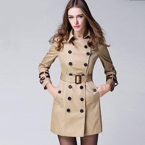 Женский двубортный Тренч с поясом, элегантный Тренч в британском стиле, верхняя одежда цвета хаки
