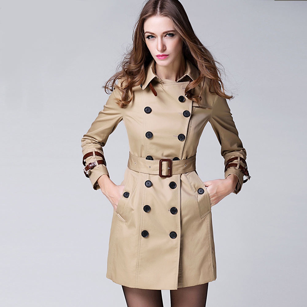 Women Female coat British Long Style Elegant   Trench   Coat/Designer Belted Double Breasted   Trench  /Outerwear   trench   coat KHAKI